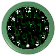 Abstract Art Background Green Color Wall Clocks