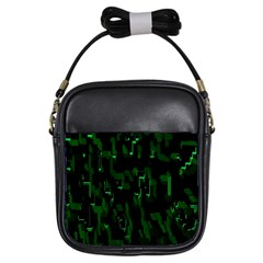 Abstract Art Background Green Girls Sling Bags