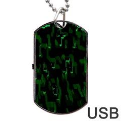 Abstract Art Background Green Dog Tag Usb Flash (one Side)