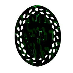 Abstract Art Background Green Ornament (oval Filigree)