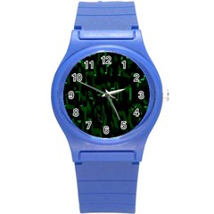Abstract Art Background Green Round Plastic Sport Watch (s)
