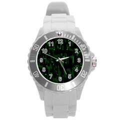Abstract Art Background Green Round Plastic Sport Watch (l)