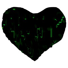 Abstract Art Background Green Large 19  Premium Heart Shape Cushions