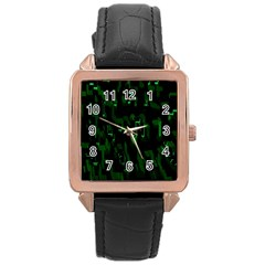 Abstract Art Background Green Rose Gold Leather Watch
