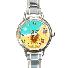 Animal Nature Cartoon Bug Insect Round Italian Charm Watch