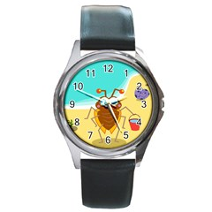 Animal Nature Cartoon Bug Insect Round Metal Watch