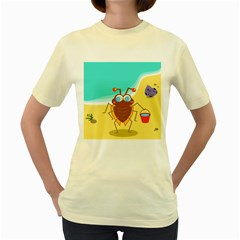 Animal Nature Cartoon Bug Insect Women s Yellow T Shirt