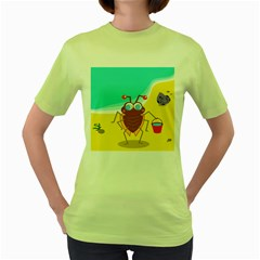 Animal Nature Cartoon Bug Insect Women s Green T Shirt