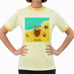 Animal Nature Cartoon Bug Insect Women s Fitted Ringer T Shirts