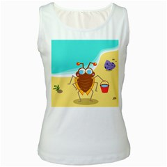 Animal Nature Cartoon Bug Insect Women s White Tank Top
