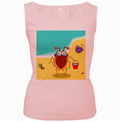 Animal Nature Cartoon Bug Insect Women s Pink Tank Top