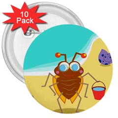 Animal Nature Cartoon Bug Insect 3  Buttons (10 Pack)