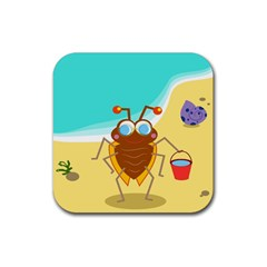 Animal Nature Cartoon Bug Insect Rubber Square Coaster (4 Pack)