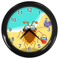 Animal Nature Cartoon Bug Insect Wall Clocks (black)