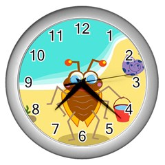 Animal Nature Cartoon Bug Insect Wall Clocks (silver)