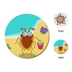 Animal Nature Cartoon Bug Insect Playing Cards (round)