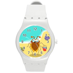 Animal Nature Cartoon Bug Insect Round Plastic Sport Watch (m)