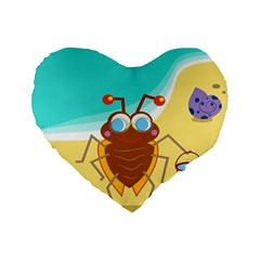 Animal Nature Cartoon Bug Insect Standard 16  Premium Heart Shape Cushions