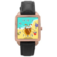Animal Nature Cartoon Bug Insect Rose Gold Leather Watch