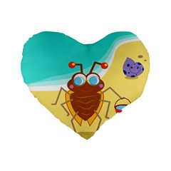 Animal Nature Cartoon Bug Insect Standard 16  Premium Flano Heart Shape Cushions