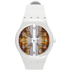 Architecture Facade Buildings Windows Round Plastic Sport Watch (m)