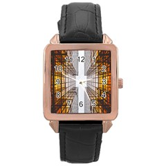 Architecture Facade Buildings Windows Rose Gold Leather Watch
