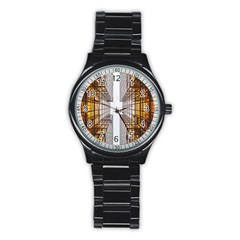 Architecture Facade Buildings Windows Stainless Steel Round Watch