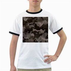 Background For Scrapbooking Or Other Camouflage Patterns Beige And Brown Ringer T Shirts
