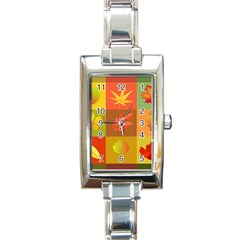 Autumn Leaves Colorful Fall Foliage Rectangle Italian Charm Watch
