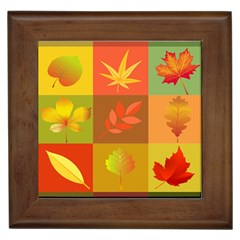 Autumn Leaves Colorful Fall Foliage Framed Tiles