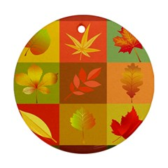 Autumn Leaves Colorful Fall Foliage Ornament (round)