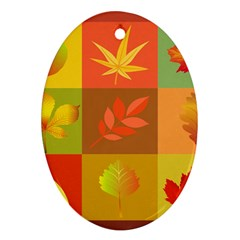 Autumn Leaves Colorful Fall Foliage Ornament (oval)