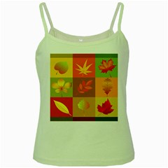 Autumn Leaves Colorful Fall Foliage Green Spaghetti Tank