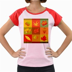 Autumn Leaves Colorful Fall Foliage Women s Cap Sleeve T Shirt