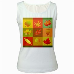 Autumn Leaves Colorful Fall Foliage Women s White Tank Top
