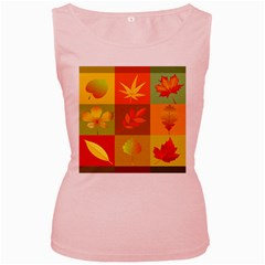 Autumn Leaves Colorful Fall Foliage Women s Pink Tank Top