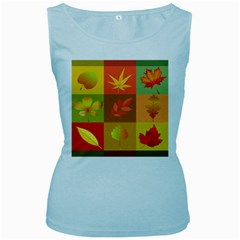 Autumn Leaves Colorful Fall Foliage Women s Baby Blue Tank Top