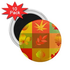 Autumn Leaves Colorful Fall Foliage 2 25  Magnets (10 Pack)