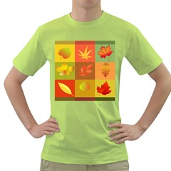 Autumn Leaves Colorful Fall Foliage Green T Shirt