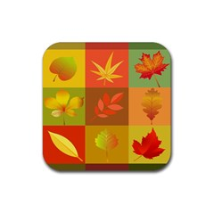 Autumn Leaves Colorful Fall Foliage Rubber Square Coaster (4 Pack)