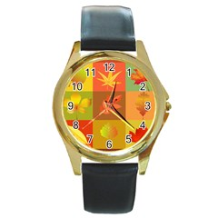 Autumn Leaves Colorful Fall Foliage Round Gold Metal Watch