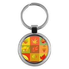 Autumn Leaves Colorful Fall Foliage Key Chains (round)
