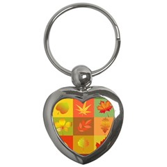 Autumn Leaves Colorful Fall Foliage Key Chains (heart)