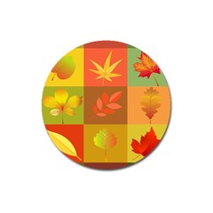 Autumn Leaves Colorful Fall Foliage Magnet 3  (round)