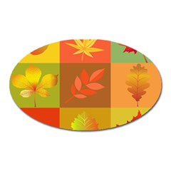 Autumn Leaves Colorful Fall Foliage Oval Magnet