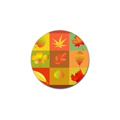 Autumn Leaves Colorful Fall Foliage Golf Ball Marker by Nexatart