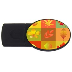 Autumn Leaves Colorful Fall Foliage Usb Flash Drive Oval (2 Gb)