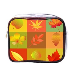 Autumn Leaves Colorful Fall Foliage Mini Toiletries Bags by Nexatart