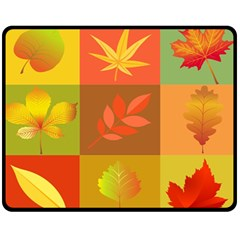 Autumn Leaves Colorful Fall Foliage Fleece Blanket (medium)  by Nexatart