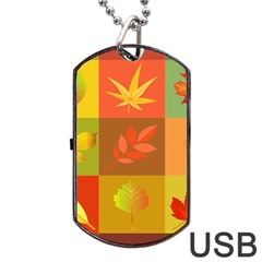 Autumn Leaves Colorful Fall Foliage Dog Tag Usb Flash (two Sides) by Nexatart